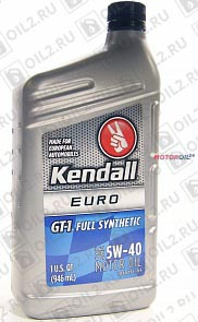 Купить KENDALL GT-1 Full Synthetic (European Formula) 5W-40 0,946 л.