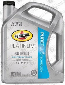Купить PENNZOIL Platinum Full Synthetic Motor Oil SAE 0W-20 (Pure Plus Technology) 4,73 л.
