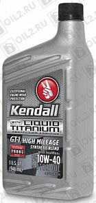 Купить KENDALL GT-1 High Mileage Synthetic Blend Motor Oil with Liquid Titanium 10W-40 0,946 л.