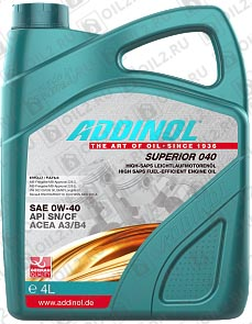 Купить ADDINOL Superior 040 SAE 0W-40 4 л.